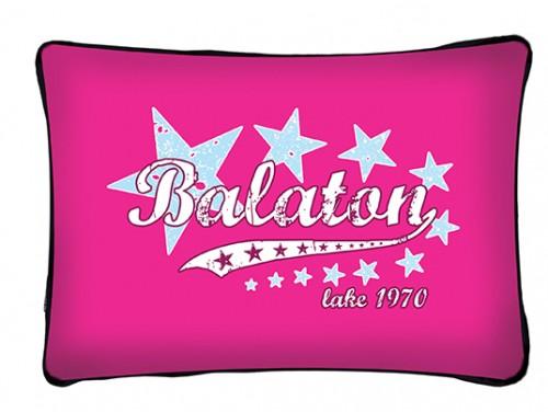 (PB011) Párna 37 cm x 27 cm - Pink csillagos Balaton - Balatonos Ajándéktárgyak