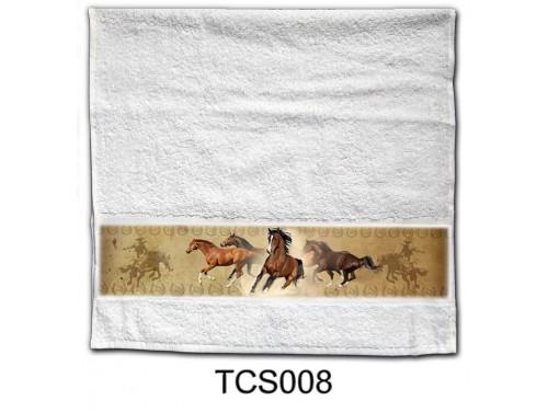 (TCS008) Törölköző 90 cm x 48 cm - Barna ló - Lovas ajándékok