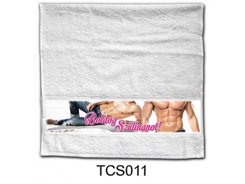 (TCS011) Törölköző 90 cm x 48 cm - Boldog Szülinapot pasis - Szülinapi Ajándékok