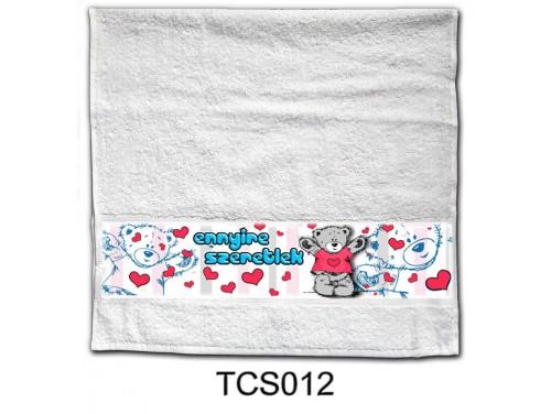 (TCS012) Törölköző 90 cm x 48 cm - Ennyire Szeretlek –  Szerelmes Ajándékok