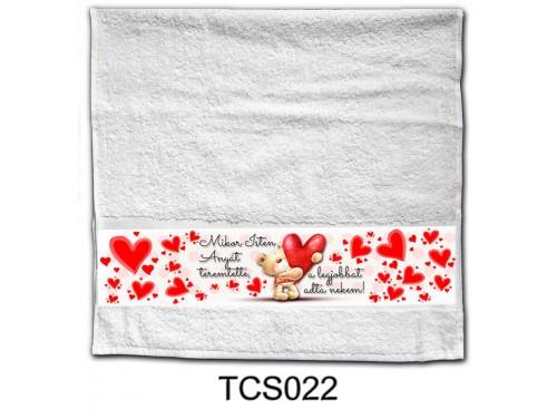(TCS022) Törölköző 90 cm x 48 cm - Mikor Isten Anyát teremtette - Ajándék anyukáknak - Anyák napi ajándék