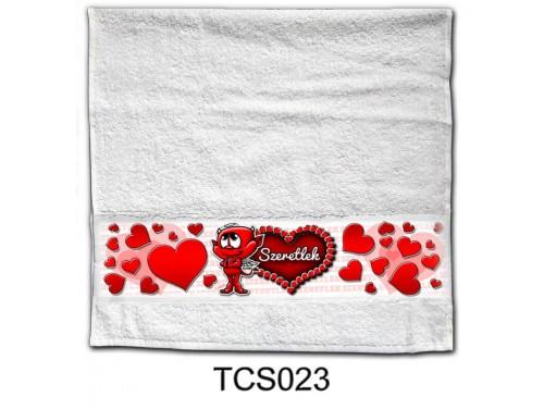 (TCS023) Törölköző 90 cm x 48 cm - Szeretlek ördög –  Szerelmes Ajándékok