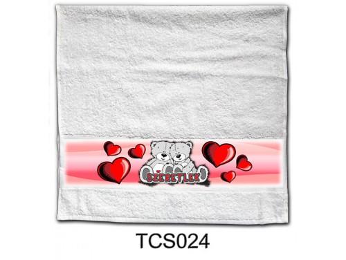 (TCS024) Törölköző 90 cm x 48 cm - Maci pár – Szerelmes Ajándékok