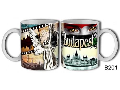 (B201) Bögre 3 dl - Szempár Budapest - Budapestes Ajándéktárgyak - Budapest souvenir