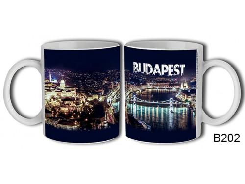 (B202) Bögre 3 dl - Éjszakai fények Budapest - Budapestes Ajándéktárgyak - Budapest souvenir
