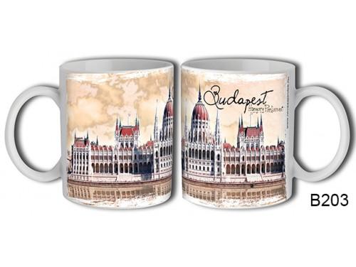(B203) Bögre 3 dl - Festett Parlament Budapest - Budapestes Ajándéktárgyak - Budapest souvenir