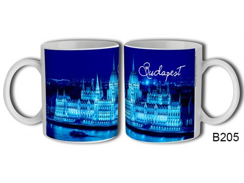 (B205) Bögre 3 dl - Kék Parlament Budapest - Budapestes Ajándéktárgyak - Budapest souvenir