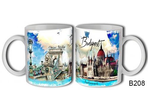 (B208) Bögre 3 dl - Festményes Budapest - Budapestes Ajándéktárgyak - Budapest souvenir