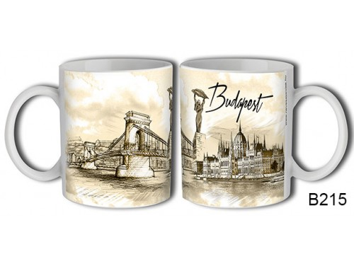 (B215) Bögre 3 dl - Rajzolt Budapest - Budapestes Ajándéktárgyak - Budapest souvenir