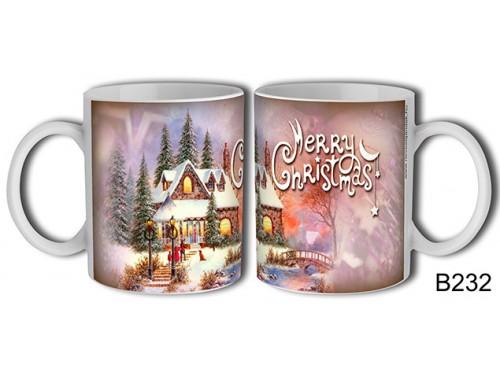 (B232) Bögre 3 dl - Festményes Karácsony – Karácsonyi ajándék