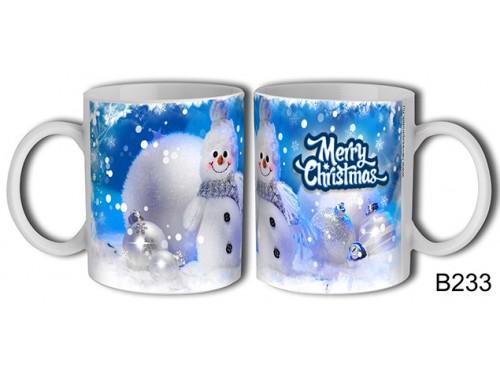 (B233) Bögre 3 dl - Kék Hóember - Karácsonyi ajándék