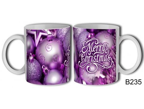 (B235) Bögre 3 dl - Lila díszek – Karácsonyi ajándék