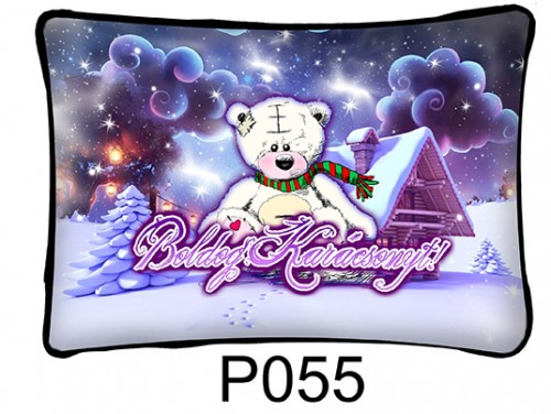 (P055) Párna 37 cm x 27 cm - Fehér maci – Karácsonyi ajándékok