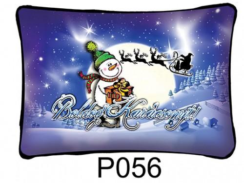 (P056) Párna 37 cm x 27 cm - Hóember – Karácsonyi ajándékok