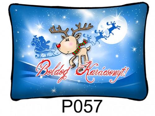 (P057) Párna 37 cm x 27 cm - Rénszarvas – Karácsonyi ajándékok
