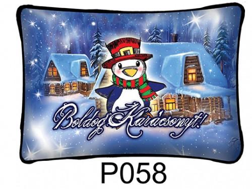 (P058) Párna 37 cm x 27 cm - Pingvin – Karácsonyi ajándékok