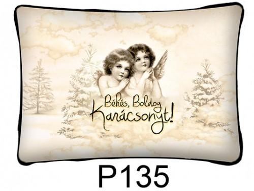 (P135) Párna 37 cm x 27 cm - Angyalok – Karácsonyi ajándékok
