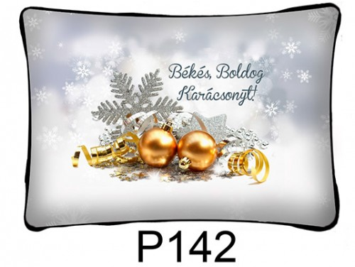 (P142) Párna 37 cm x 27 cm - Díszgömb dekor – Karácsonyi ajándékok