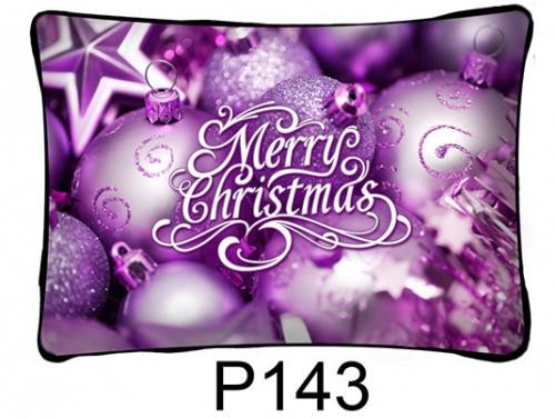 (P143) Párna 37 cm x 27 cm - Lila díszek – Karácsonyi ajándékok