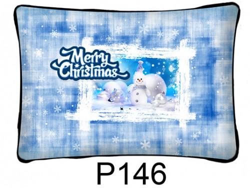 (P146) Párna 37 cm x 27 cm - Kék hóember – Karácsonyi ajándékok