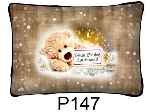 (P147) Párna 37 cm x 27 cm - Táblás maci – Karácsonyi ajándékok