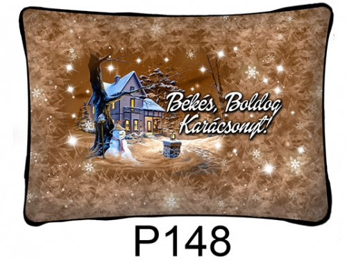 (P148) Párna 37 cm x 27 cm - Barna téli táj – Karácsonyi ajándékok