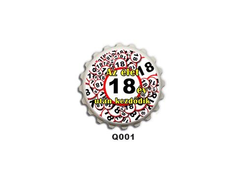 (Q001) Kupak mágnes 8 cm - Az élet 18 év után kezdődik – 18. Szülinapi Ajándékok