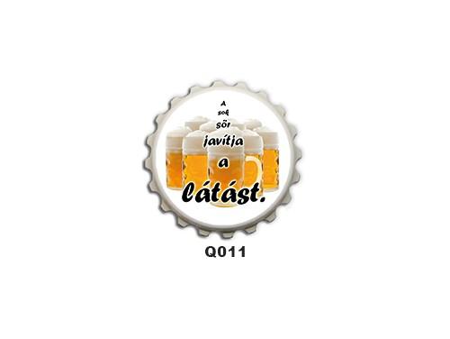 (Q011) Kupak mágnes 8 cm - A sok sör javítja a látást – Ivós Ajándékok