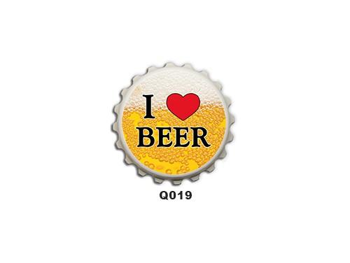 (Q019) Kupak mágnes 8 cm - I love beer – Ivós Ajándékok