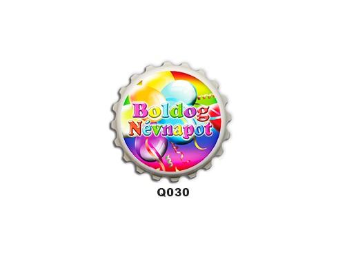 (Q030) Kupak mágnes 8 cm - Boldog névnapot lufis – Névnapi Ajándékok