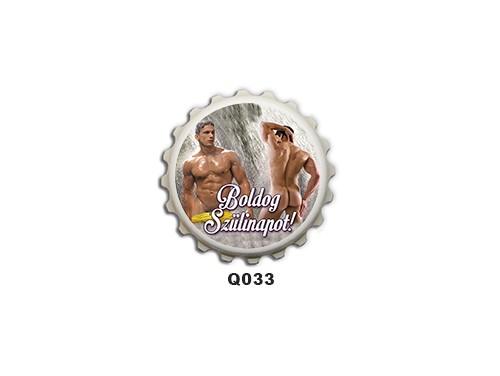 (Q033) Kupak mágnes 8 cm - Boldog Szülinapot Fürdőző férfi – Szülinapi Ajándékok