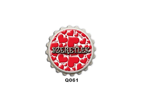 (Q061) Kupak mágnes 8 cm - Szeretlek – Szerelmes Ajándékok
