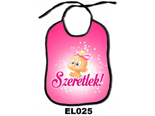 (EL025) Előke 26 cm x 32,5 cm - Lányos Szeretlek – Ajándék kisbabáknak