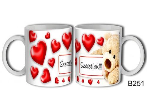 (B251) Bögre 3 dl - Táblás maci szerelmes – Szerelmes pároknak ajándék