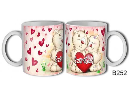 (B252) Bögre 3 dl - Pimi maci pár – Szerelmes pároknak ajándék