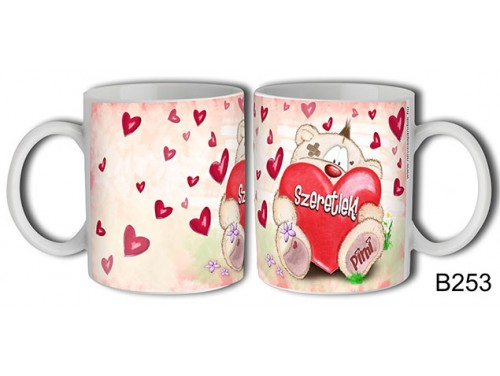 (B253) Bögre 3 dl - Ülő Pimi maci – Szerelmes pároknak ajándék