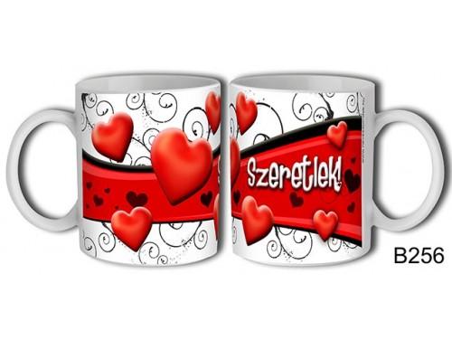 (B256) Bögre 3 dl - Szív hullám – Szerelemes bögre – Szerelmes pároknak ajándék