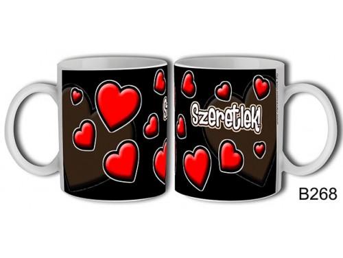 (B268) Bögre 3 dl - Szivek fekete – Szerelemes bögre – Szerelmes pároknak ajándék