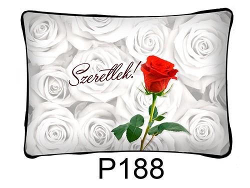 (P188) Párna 37 cm x 27 cm - Rózsás – Szerelmes Ajándékok