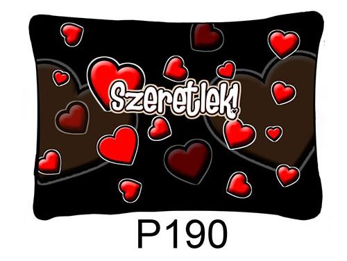 (P190) Párna 37 cm x 27 cm - Fekete szives – Szerelmes Ajándékok