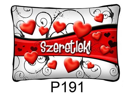 (P191) Párna 37 cm x 27 cm - Szív hullám – Szerelmes Ajándékok