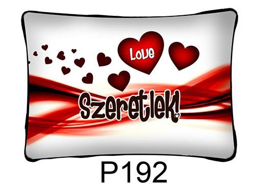 (P192) Párna 37 cm x 27 cm - Love szivecskés – Szerelmes Ajándékok
