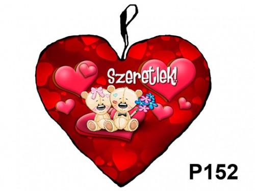 (P152) Párna Nagy Szív 45cm - Macikák virággal - Szermes Ajándék