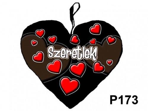 (P173) Párna Kis Szív 25cm - Fekete szíves – Szerelmes Ajándékok