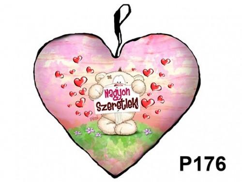 (P176) Párna Kis Szív 25cm - Táblás Pimi maci – Szerelmes Ajándékok