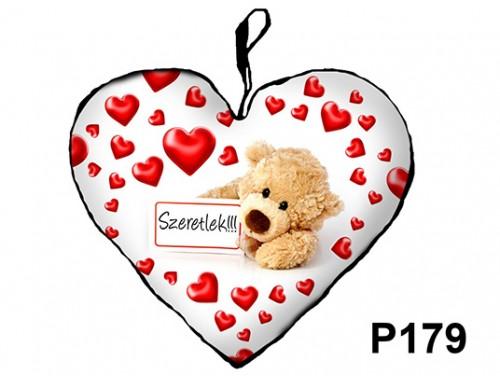 (P179) Párna Kis Szív 25cm - Táblás maci – Szerelmes Ajándékok