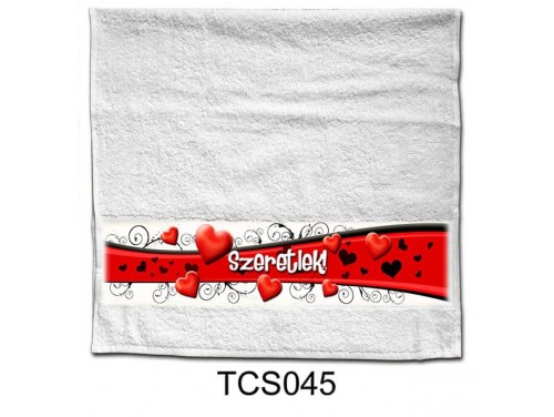 (TCS045) Törölköző 90 cm x 48 cm - Szívhullám – Szerelmes Ajándékok