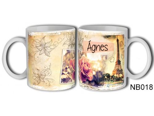 (NB018) Bögre 3 dl - Ágnes – Névre Szóló Ajándék - Névnapi ajándékok