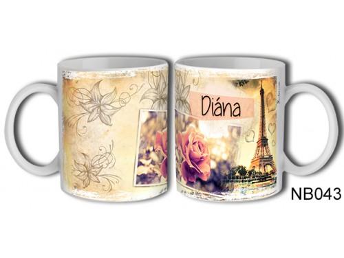 (NB043) Bögre 3 dl - Diána – Névre Szóló Ajándék – Névnapi ajándékok