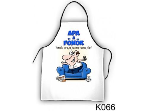 (K066) Kötény 50 cm x 70 cm - Apa a főnök – Ajándék Apáknak